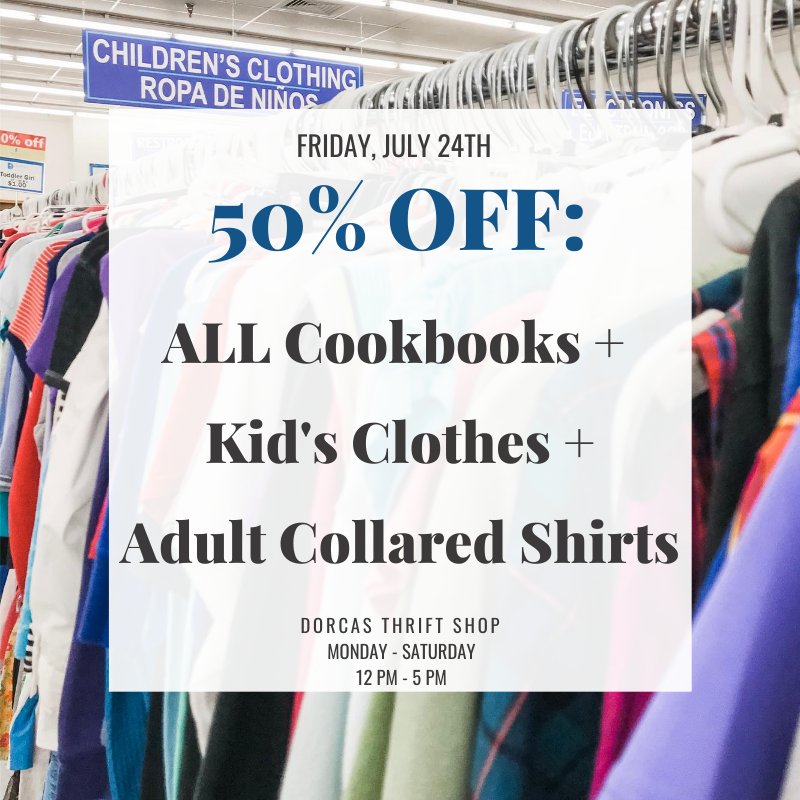 7/24/2020 Sale: All cookbooks + kid's clothes + adult collared shirts are 50% off
